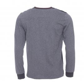 Tee-shirt manches longues Nuxtee TBS en maille piquée noire et manches en jersey de coton anthracite