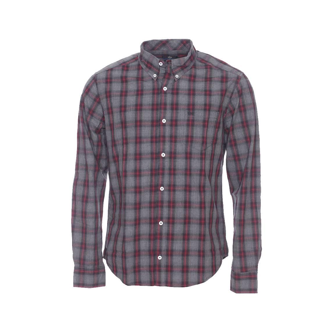 Chemise droite  en coton à carreaux gris, noirs et rouges