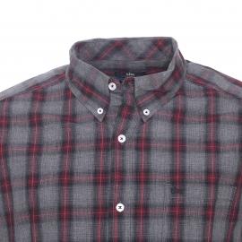 Chemise droite TBS en coton à carreaux gris, noirs et rouges