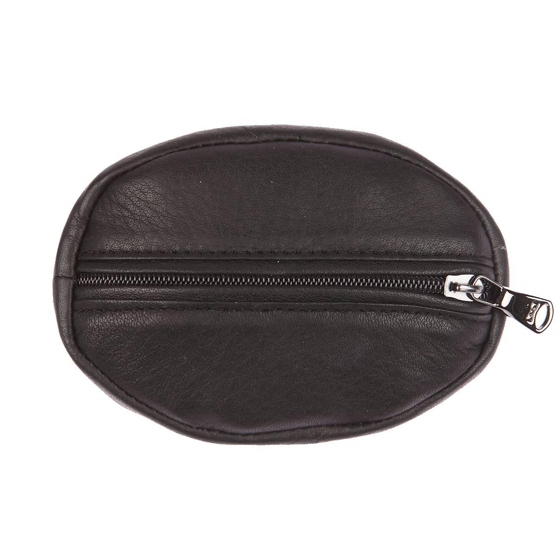 Porte monnaie ovale  en cuir de vachette noir