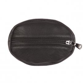 Porte monnaie ovale Eden Park en cuir de vachette noir