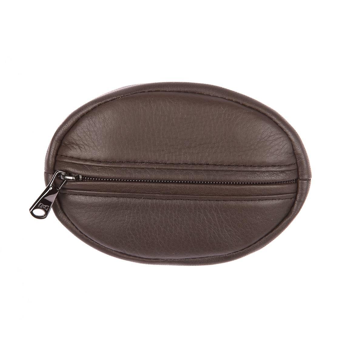 Porte monnaie ovale  en cuir de vachette marron