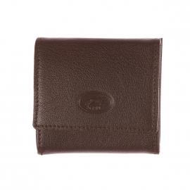 Porte-monnaie à soufflet Serré en cuir de chèvre marron, fabrication française artisanale