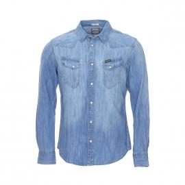 Chemise en jean Wrangler Western bleu clair à poches