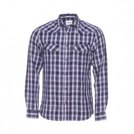 Chemise cintrée Wrangler en coton à carreaux bleu marine, blancs et rouges