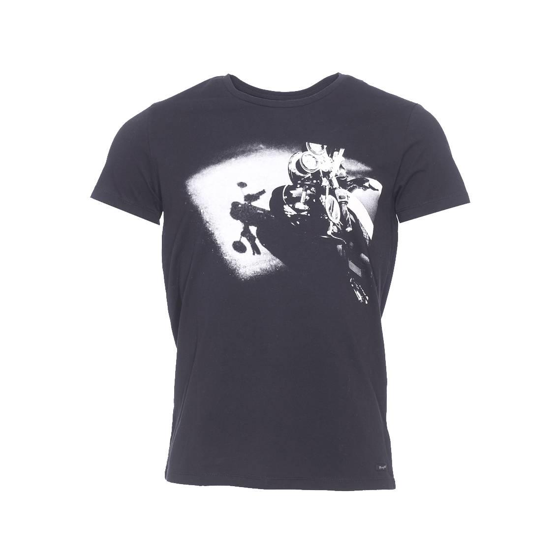 Tee shirt col rond  en coton noir imprimé à l\'avant