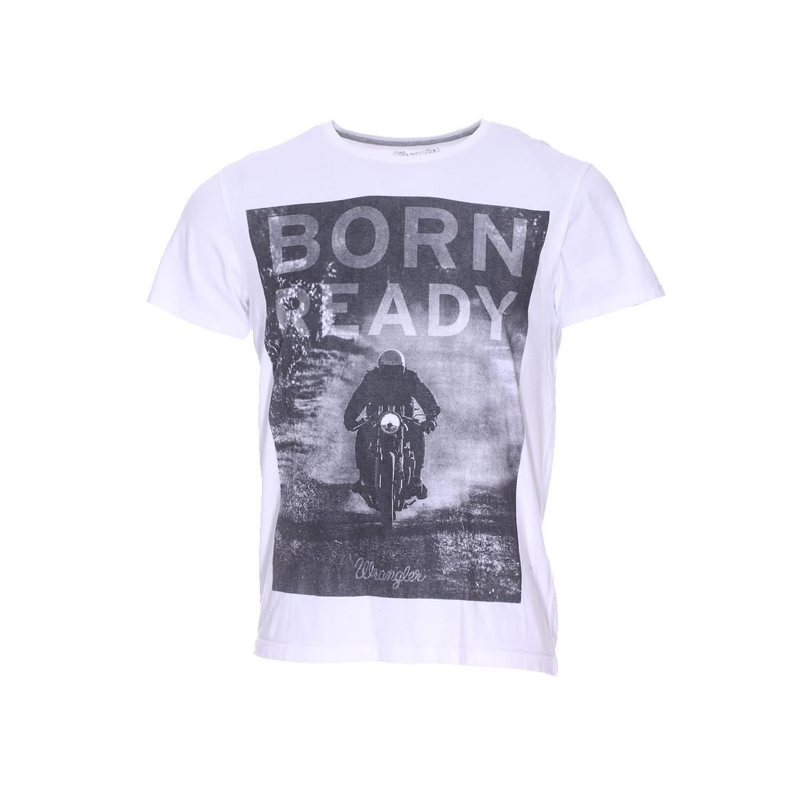 Tee shirt col rond  en coton blanc imprimé d\'une photographie à l\'avant