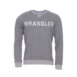 Sweat col rond Wrangler en coton gris chiné brodé Wrangler