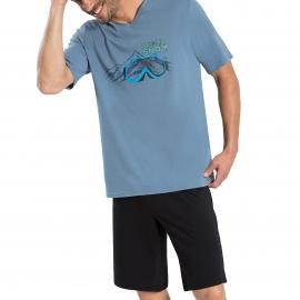 Pyjama court Athena en jersey de coton : tee-shirt col V gris à imprimé montagne, bermuda noir