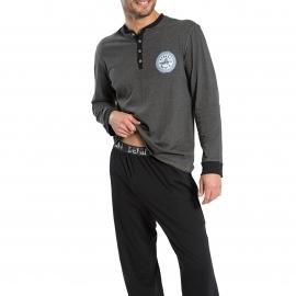 Pyjama long Athena Denim en jersey de coton : tee-shirt manches longues gris anthracite chiné à col tunisien et pantalon noir