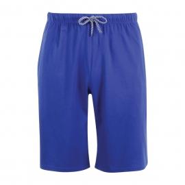 Pyjama court Athena Denim en jersey de coton : tee-shirt col rond à rayures blanches et bleues, bermuda bleu indigo