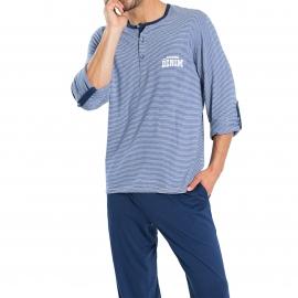 Pyjama long Athena Denim 100% coton : tee-shirt col tunisien à rayures blanches et bleues et pantalon bleu marine