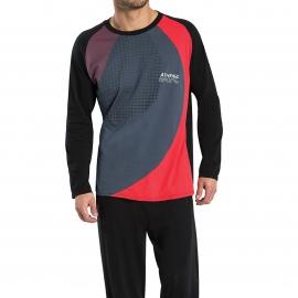 Pyjama long Athena 100% coton : tee-shirt manches longues noir à motifs géométriques rouges, gris et prune, pantalon noir