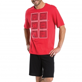 Pyjama court Athena en jersey de coton : tee-shirt col rond rouge serigraphié, bermuda noir