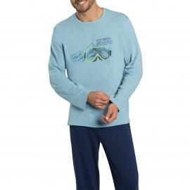 Pyjama long Athena 100% coton : tee-shirt manches longues bleu ciel à imprimé montagne et pantalon bleu nuit
