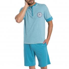 Pyjama court Athena Denim en jersey de coton : tee-shirt bleu ciel chiné à col tunisien, bermuda bleu turquoise