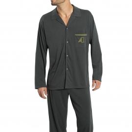 Pyjama long Athena en jersey de coton sablé : veste boutonnée et pantalon gris anthracite
