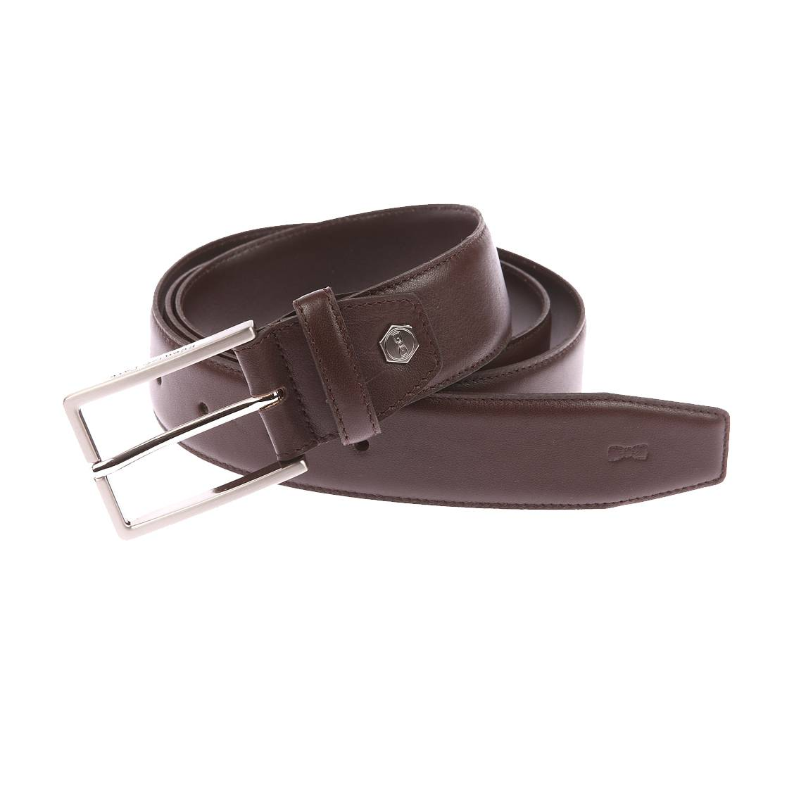 Ceinture ajustable  en refente de cuir marron