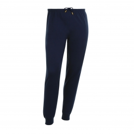Pyjama jogging Eminence en jersey de coton : tee-shirt col rond à fines rayures bleu marine et blanches, pantalon bleu marine