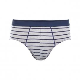 Slip taille basse Eminence en coton stretch et modal gris chiné à rayures bleu marine