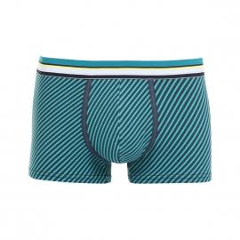 Boxer Eminence Pop en jersey de coton stretch à rayures diagonales bleu marine et bleu canard