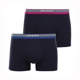 Lot de 2 boxers Eminence en jersey de coton stretch et modal bleu marine à ceinture mauve et bleue