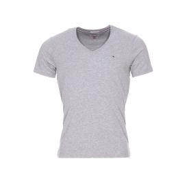 Tee-shirt col V Original Hilfiger Denim en coton gris chiné