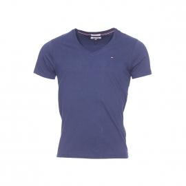 Tee-shirt col V Original Hilfiger Denim en coton bleu marine