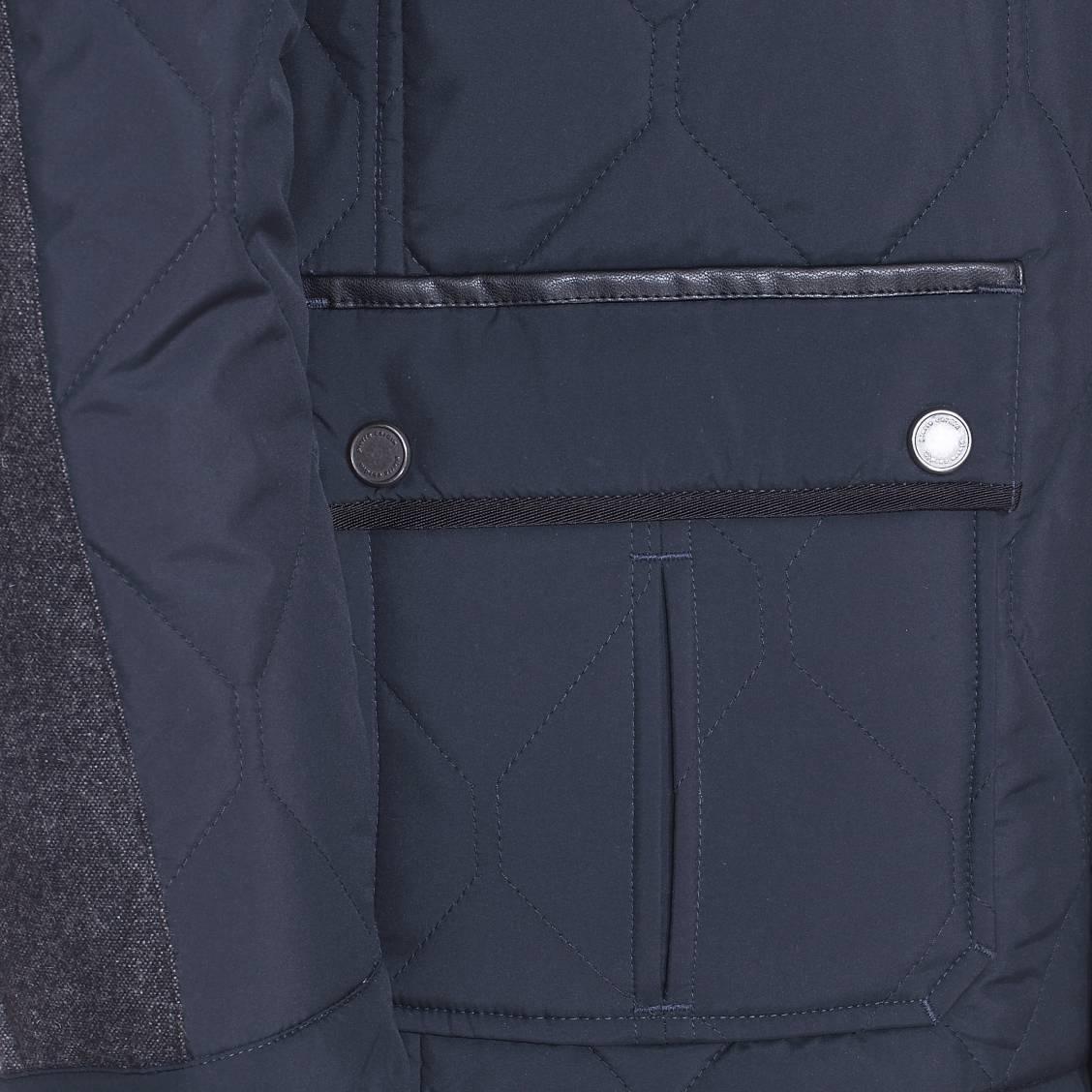 parka matelass e et imperm able pierre cardin bleu marine empi cement en laine gris chin. Black Bedroom Furniture Sets. Home Design Ideas