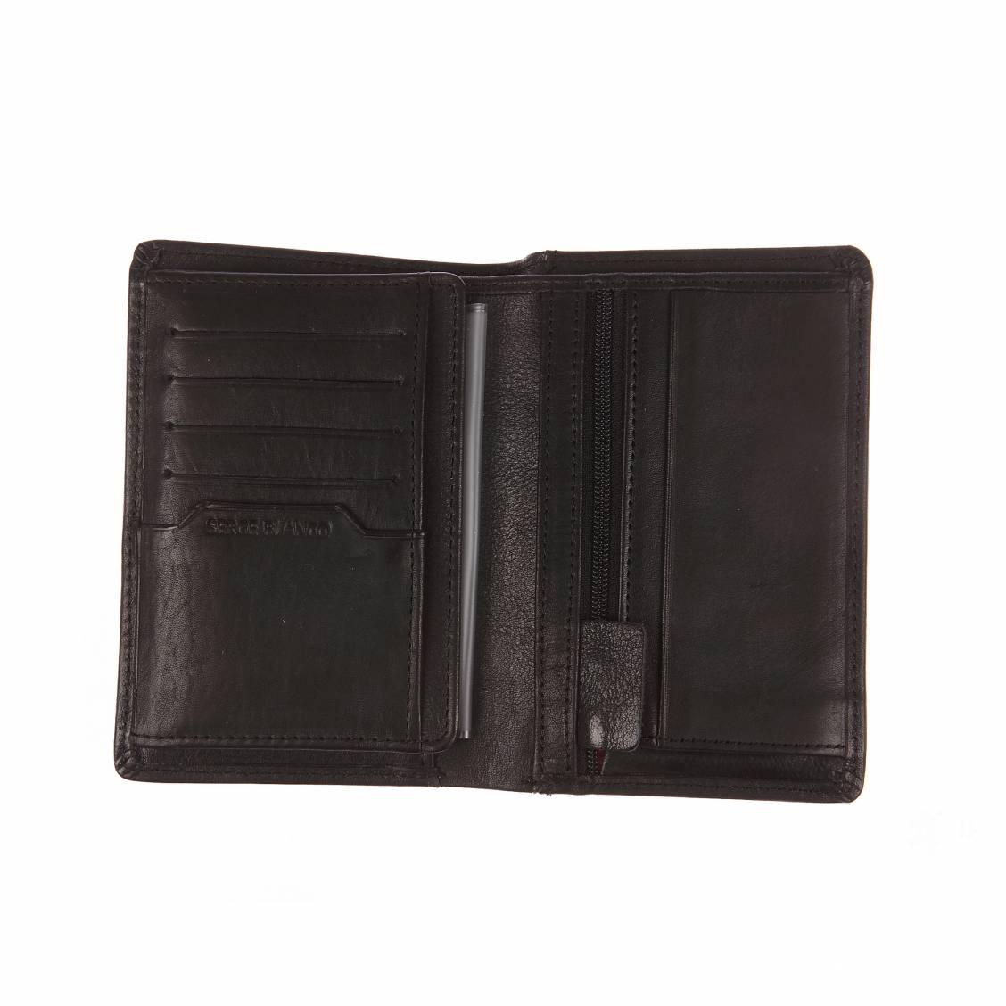 Grand portefeuille européen Serge Blanco en cuir noir à 4 volets dont 1 amovible dpgaSZ