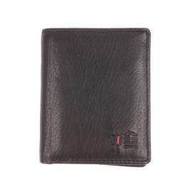 Petit portefeuille européen 4 volets Serge Blanco en cuir noir