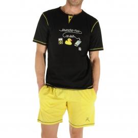 Pyjama court Christian Cane Mega Jack : Tee-shirt à petit col tunisien noir floqué