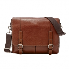Cartable Bennett Fossil en cuir cognac à compartiment ipad