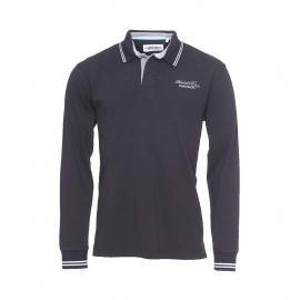 Polo manches longues Camberabero en jersey de coton noir brodé Bledsiloe Cup