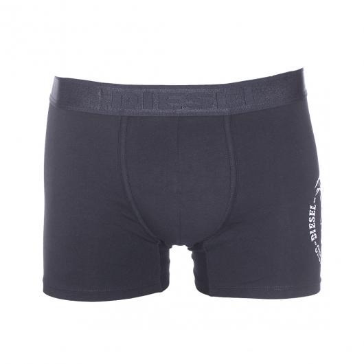 boxer long diesel en coton stretch noir floqu du logo en argent rue des hommes. Black Bedroom Furniture Sets. Home Design Ideas