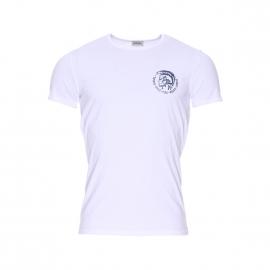 Tee-shirt col rond Diesel en coton stretch blanc floqué du logo en bleu metallique