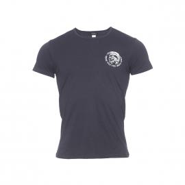 Tee-shirt col rond Diesel en coton stretch noir floqué du logo en argent métallique