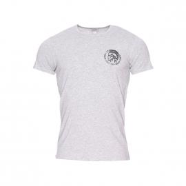 Tee-shirt col rond Diesel en coton stretch gris chiné floqué du logo en noir métallique