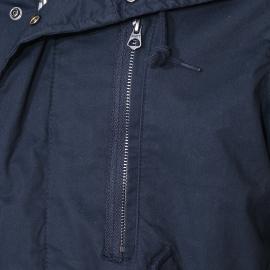 Parka Schott N.Y.C bleu marine à capuche en fourrure, doublure effet laine écrue