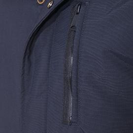 Parka Schott N.Y.C bleu foncé à capuche à fourrure, doublure imprimé New-York