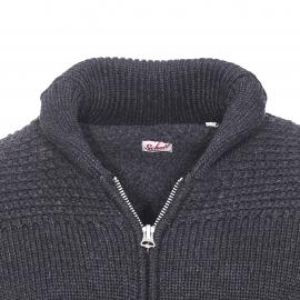 Veste zippée à petit col châle Schott NYC, grosses mailles gris anthracite