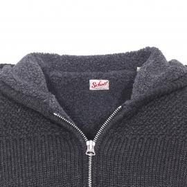 Veste zippée à capuche Schott NYC à grosses mailles anthracite