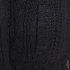 Veste zippée Schott NYC à grosses mailles noires, boutonnière type Duffle Coat