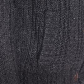Veste zippée Schott NYC à grosses mailles gris anthracite, boutonnière type Duffle Coat