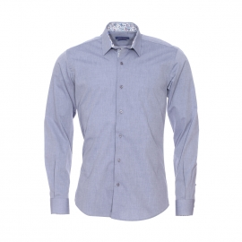 Chemise cintrée Méadrine en chambray bleu grisé à opposition à motifs fleuris