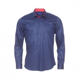 Chemise cintrée Méadrine en coton bleu marine à pois rouges