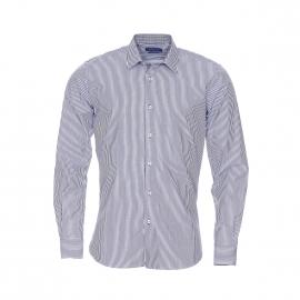 Chemise cintrée Méadrine en coton à rayures bleu marine et blanches