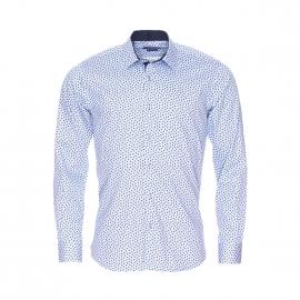 Chemise cintrée Méadrine à petits carreaux bleus et blancs et à motifs fleurs
