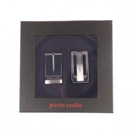 Coffret cadeau Pierre Cardin : Ceinture noire réversible et ajustable à boucle classique et pleine striée