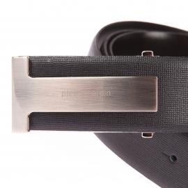Ceinture Pierre Cardin en refente de cuir texturée noire à boucle pleine fermée par un poinçon